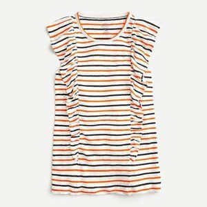 J. CREW Ruffle Tank Striped Linen Top SMALL NWT